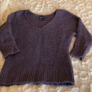 American Eagle Purple 3/4 Sleeve V Neck Sweater
